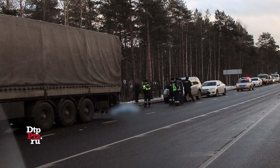 Натрассе вКарелии самосвал насмерть сбил человека иранил инспектора ДПС